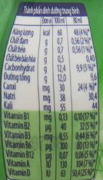 Bảng giá trị dinh dưỡng sữa chua uống Fristi hương Táo chai 80ml