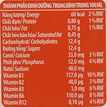 Bảng giá trị dinh dưỡng sữa chua uống YoMost cam hộp 170ml