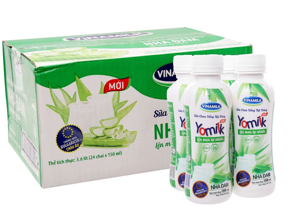 Thùng 24 chai sữa chua uống Vinamilk Yomilk nha đam 150ml 1