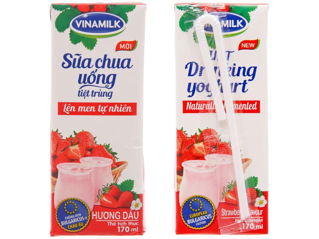Thùng 48 hộp sữa chua uống Vinamilk dâu 180ml 3