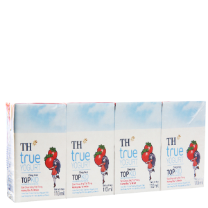 Lốc 4 hộp sữa chua uống TH True Yogurt Top Kid dâu 110ml
