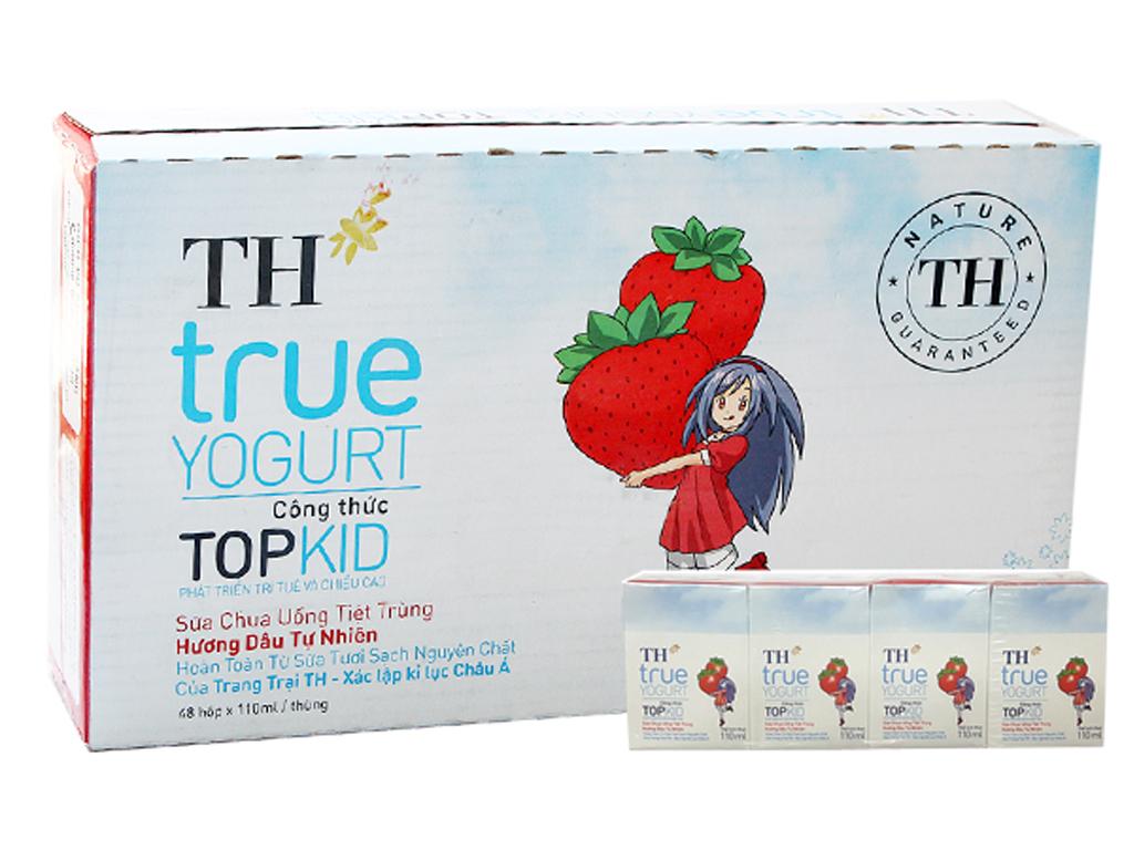 Thùng 48 hộp sữa chua uống TH True Yogurt Top Kid dâu 110ml 1
