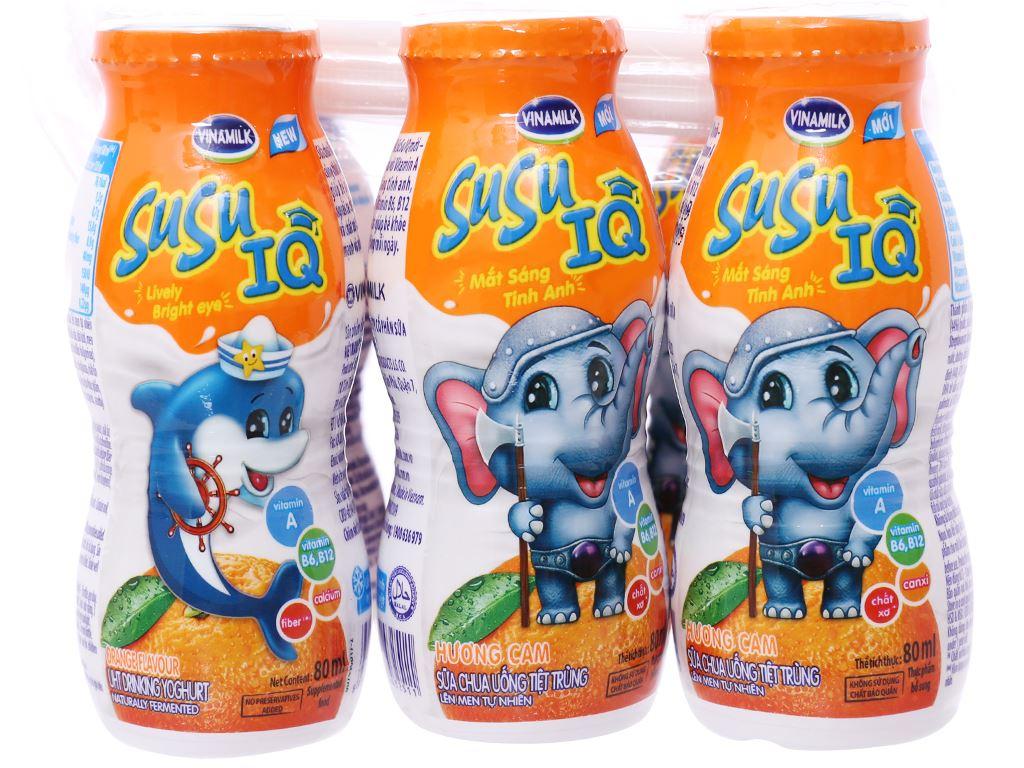 Lốc 6 chai sữa chua uống SuSu IQ cam 80ml 1
