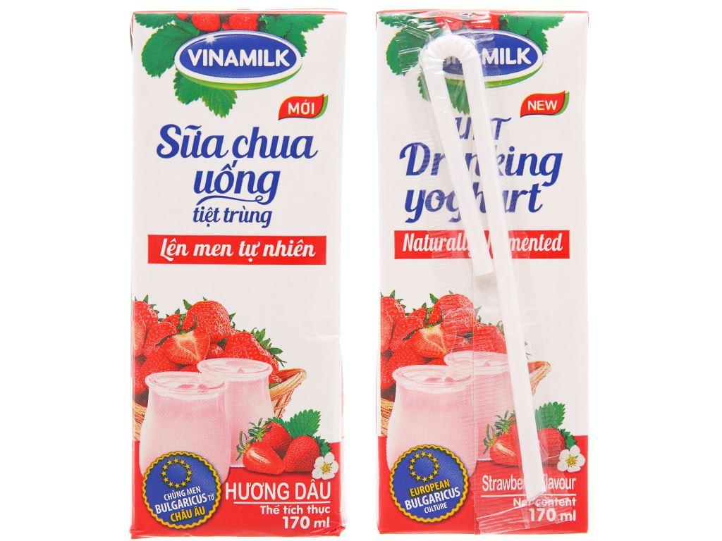 Thùng 48 hộp sữa chua uống hương dâu Vinamilk 170ml 2