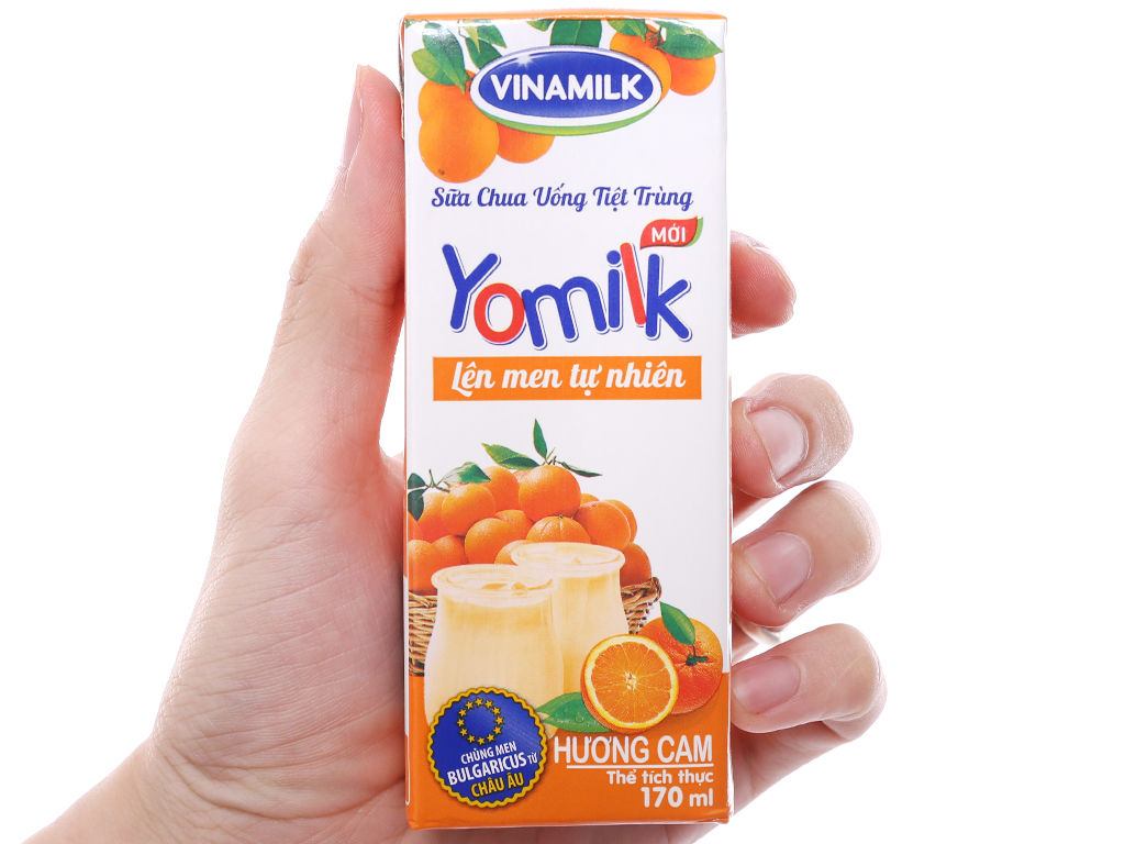 Lốc 4 hộp sữa chua uống Vinamilk Yomilk cam 170ml 4