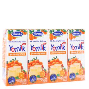 Lốc 4 hộp sữa chua uống Vinamilk Yomilk cam 170ml