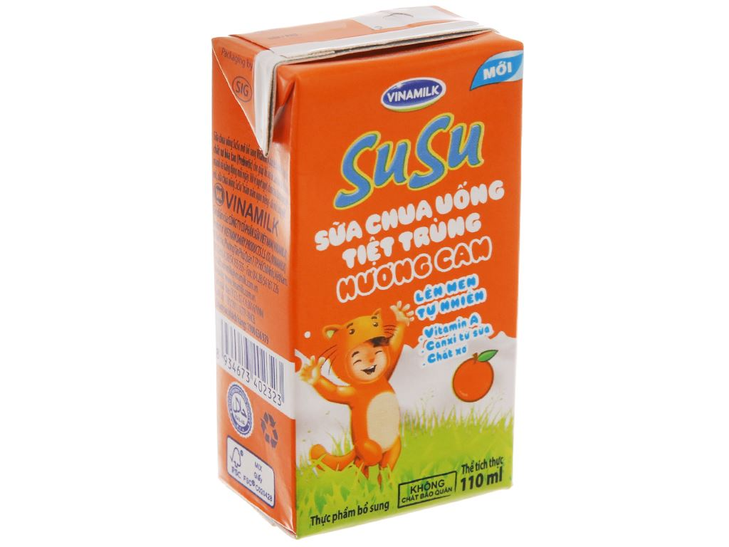Thùng 48 hộp sữa chua uống SuSu cam 110ml 3