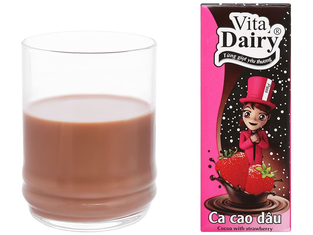 Lốc 4 hộp cacao sữa dâu Vita Dairy 180ml 7