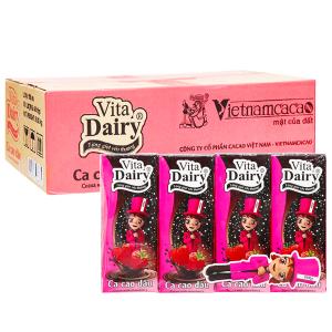 Thùng 48 hộp cacao uống liền hương dâu Vita Dairy 180ml