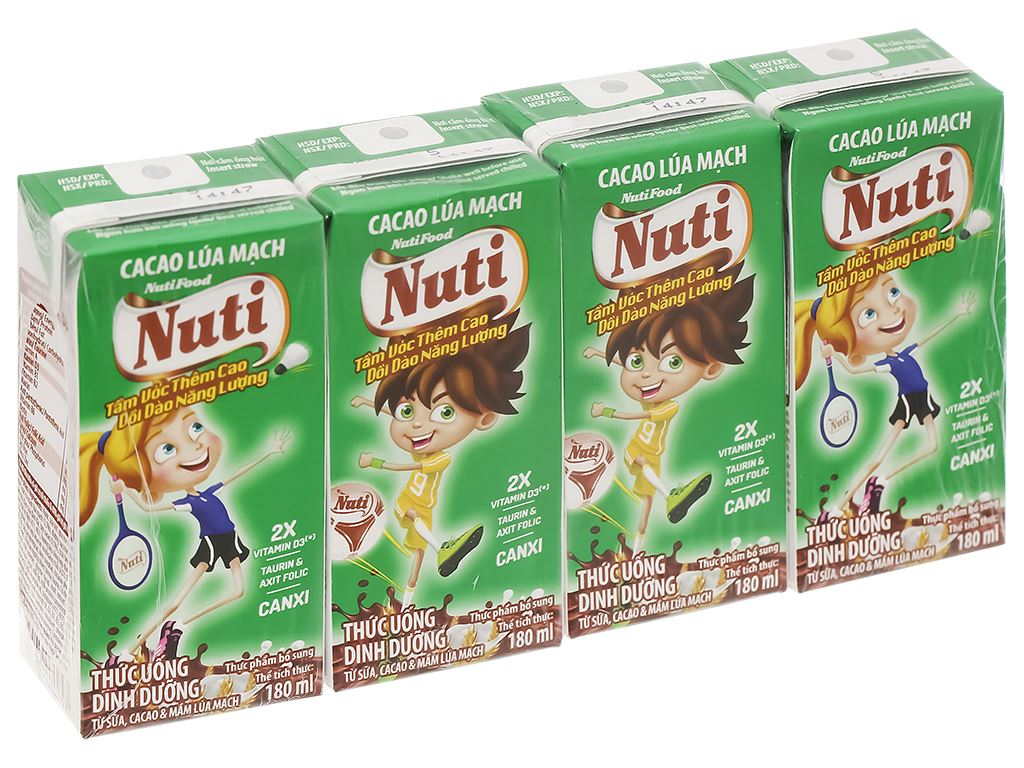 Lốc 4 hộp sữa cacao lúa mạch NutiFood 180ml 1