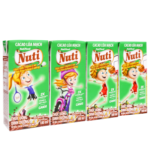Lốc 4 hộp sữa cacao lúa mạch NutiFood 180ml