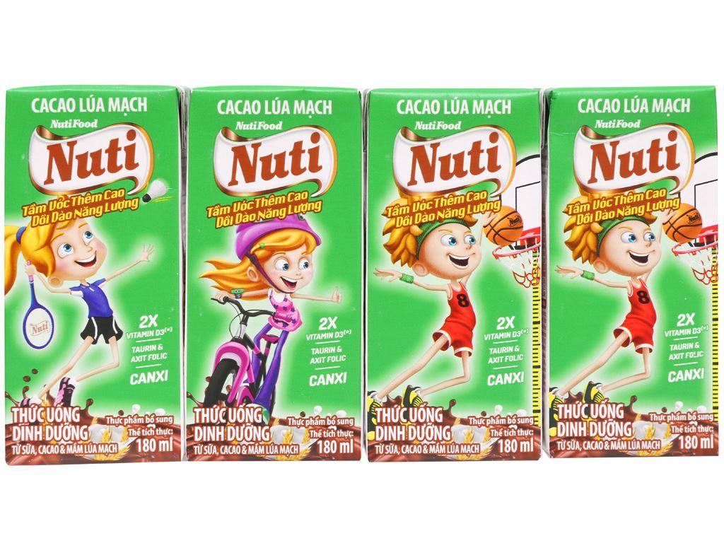 Lốc 4 hộp sữa cacao lúa mạch NutiFood 180ml 6