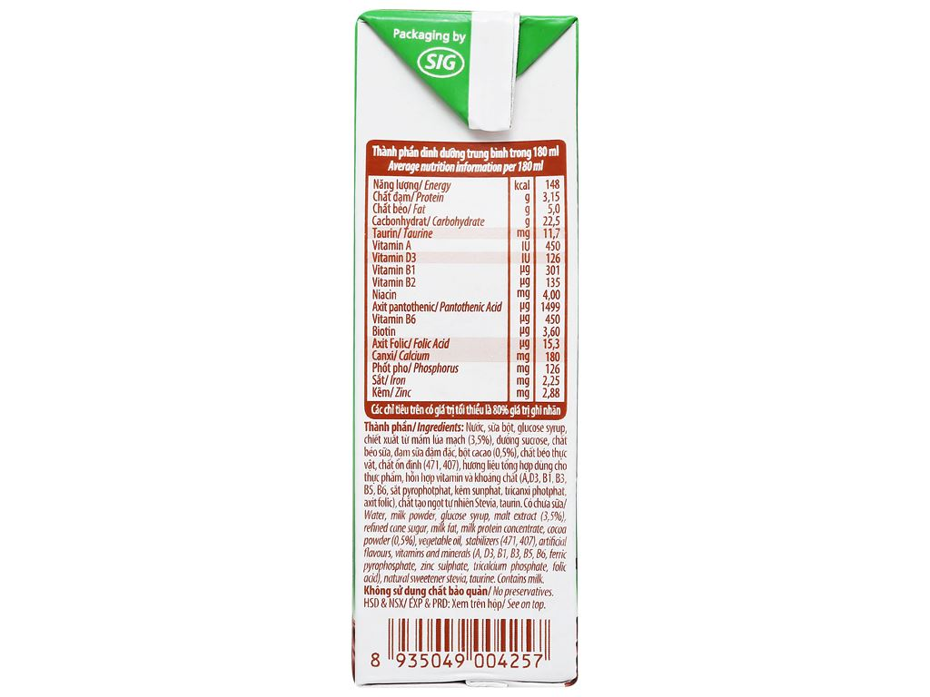 Lốc 4 hộp sữa cacao lúa mạch NutiFood 180ml 11