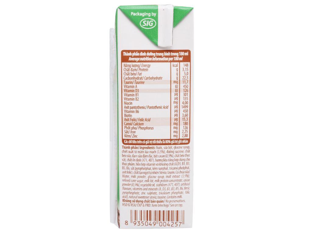 Thùng 48 hộp sữa cacao lúa mạch NutiFood 180ml 6
