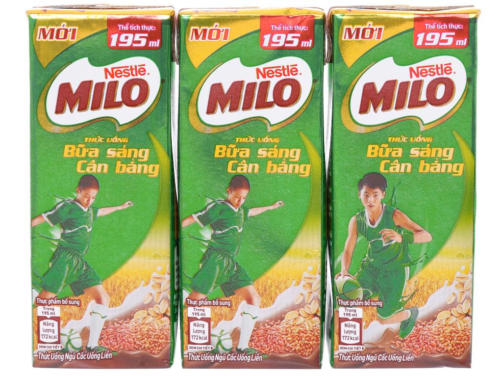 Lốc 3 hộp thức uống ngũ cốc Milo Bữa sáng cân bằng 195ml 4