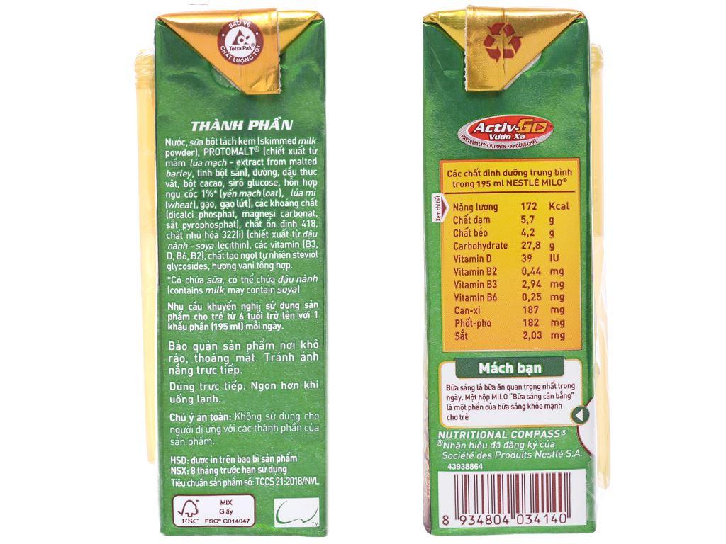 Lốc 3 hộp thức uống ngũ cốc Milo Bữa sáng cân bằng 195ml 5