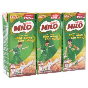 Lốc 3 hộp thức uống ngũ cốc Milo Bữa sáng cân bằng 195ml
