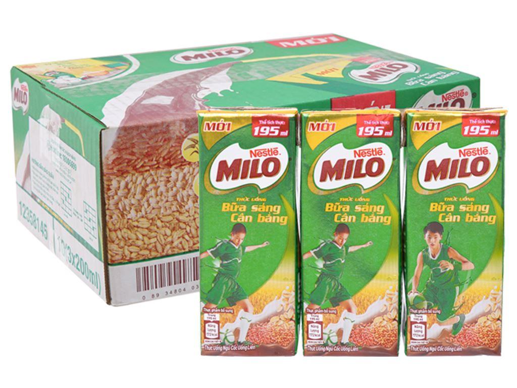 Thùng 30 hộp thức uống ngũ cốc Milo Bữa sáng cân bằng 195ml 1