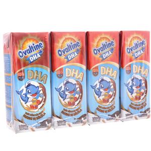 Lốc 4 hộp thức uống lúa mạch hương vị socola Ovaltine DHA+ 180ml