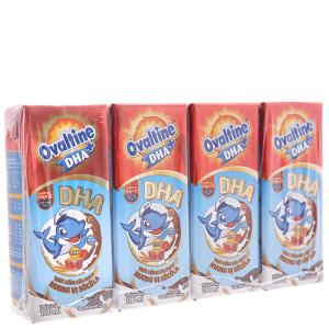 Lốc 4 hộp thức uống lúa mạch Ovaltine DHA+ sô cô la 180ml