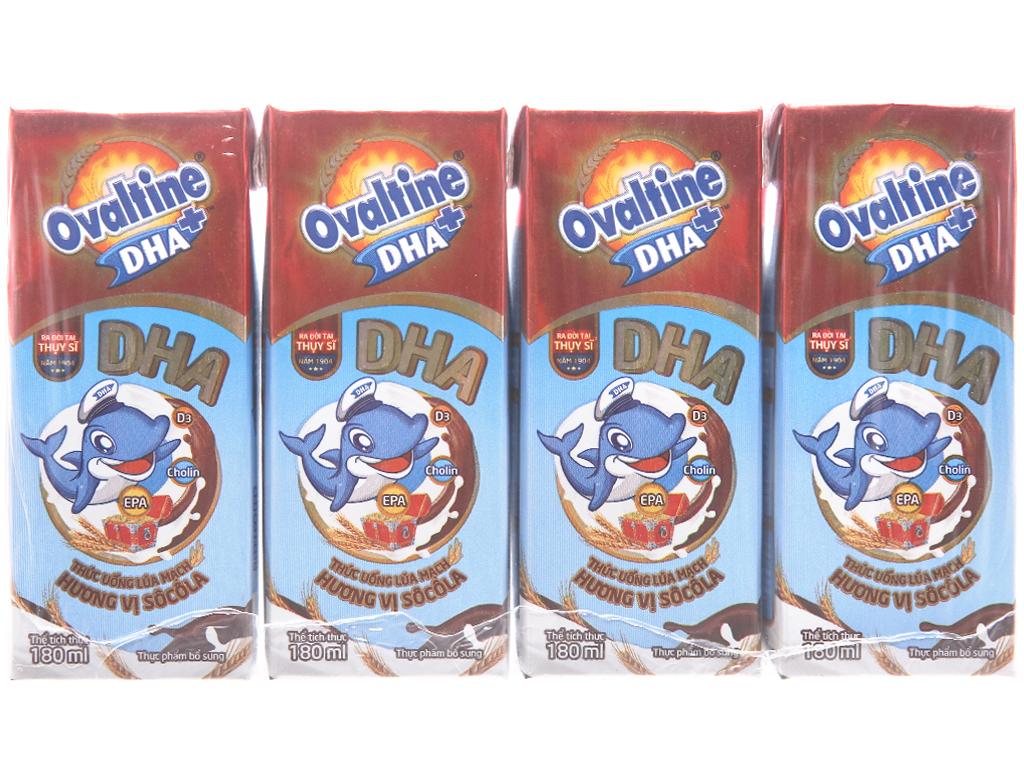 Lốc 4 hộp thức uống lúa mạch hương vị socola Ovaltine DHA+ 180ml 1