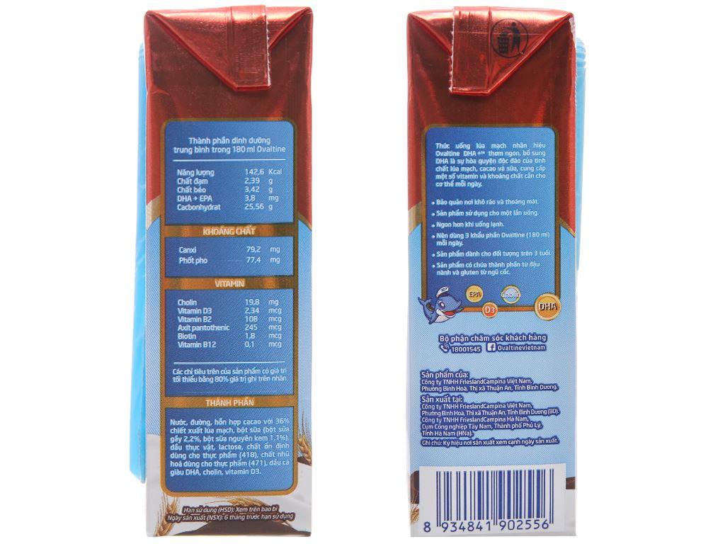 Lốc 4 hộp thức uống lúa mạch Ovaltine DHA+ socola 180ml 4