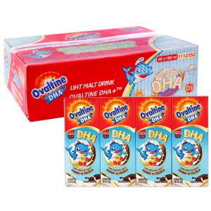 Thùng 48 hộp thức uống lúa mạch hương vị socola Ovaltine DHA+ 180ml