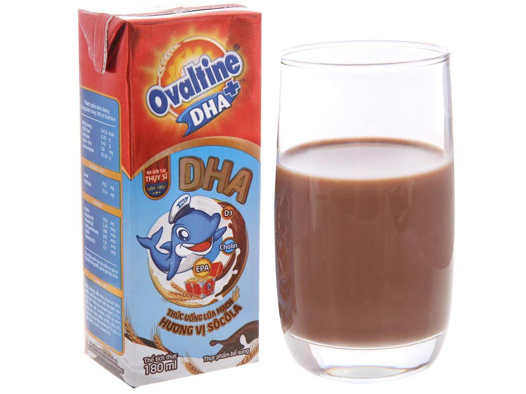 Thùng 48 hộp thức uống lúa mạch Ovaltine DHA+ sô cô la 180ml 3