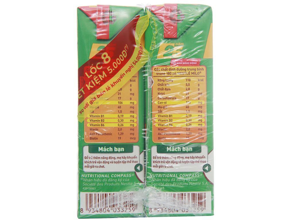 Lốc 8 hộp thức uống lúa mạch uống liền Milo Active Go 180ml (phiên bản giới hạn) 6