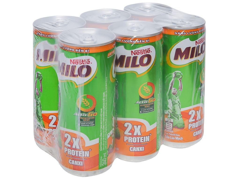 Lốc 6 lon sữa lúa mạch Milo Active Go 240ml 1