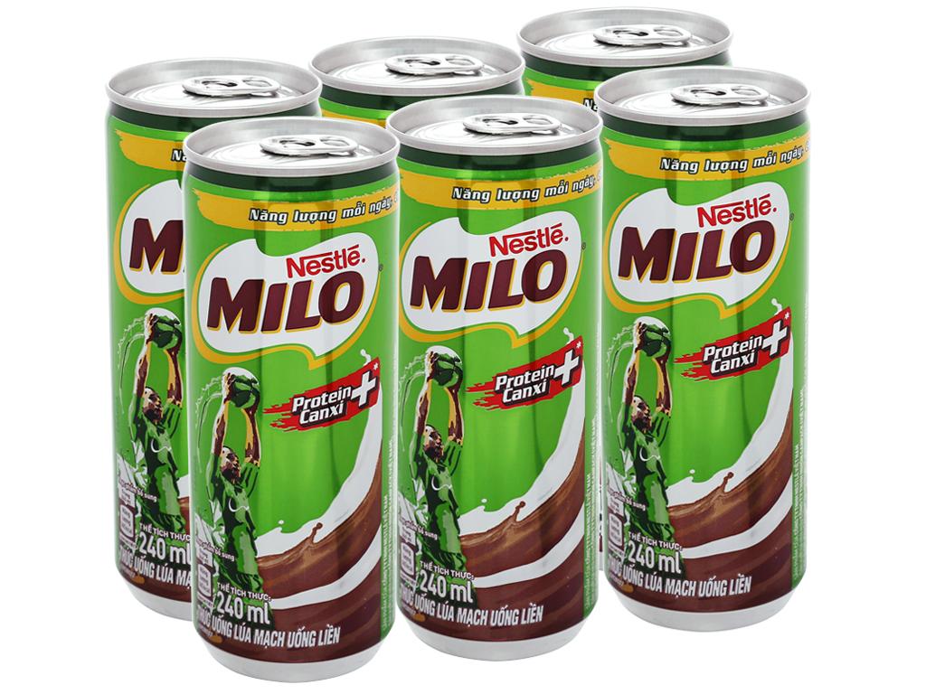 Lốc 6 lon thức uống lúa mạch uống liền Milo Active Go 240ml 1