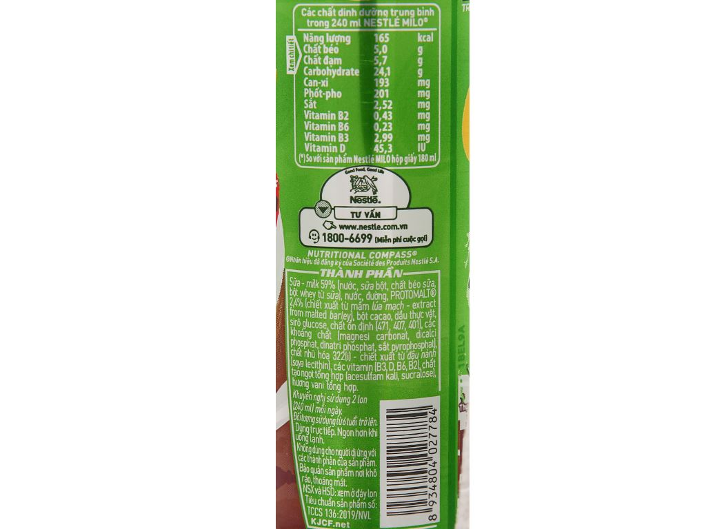 Lốc 6 lon sữa lúa mạch Milo Active Go 240ml 9