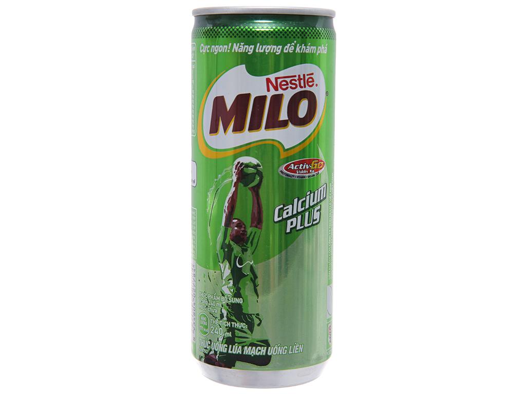 Thùng 24 lon thức uống lúa mạch uống liền Milo Active Go 240ml 2