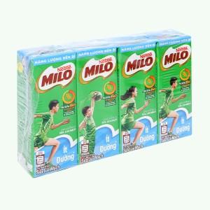 Lốc 4 hộp thức uống lúa mạch ít đường Milo Active Go 180ml