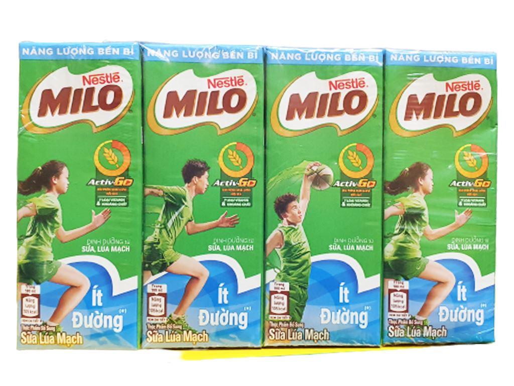 Lốc 4 hộp thức uống lúa mạch ít đường Milo Active Go 180ml 2
