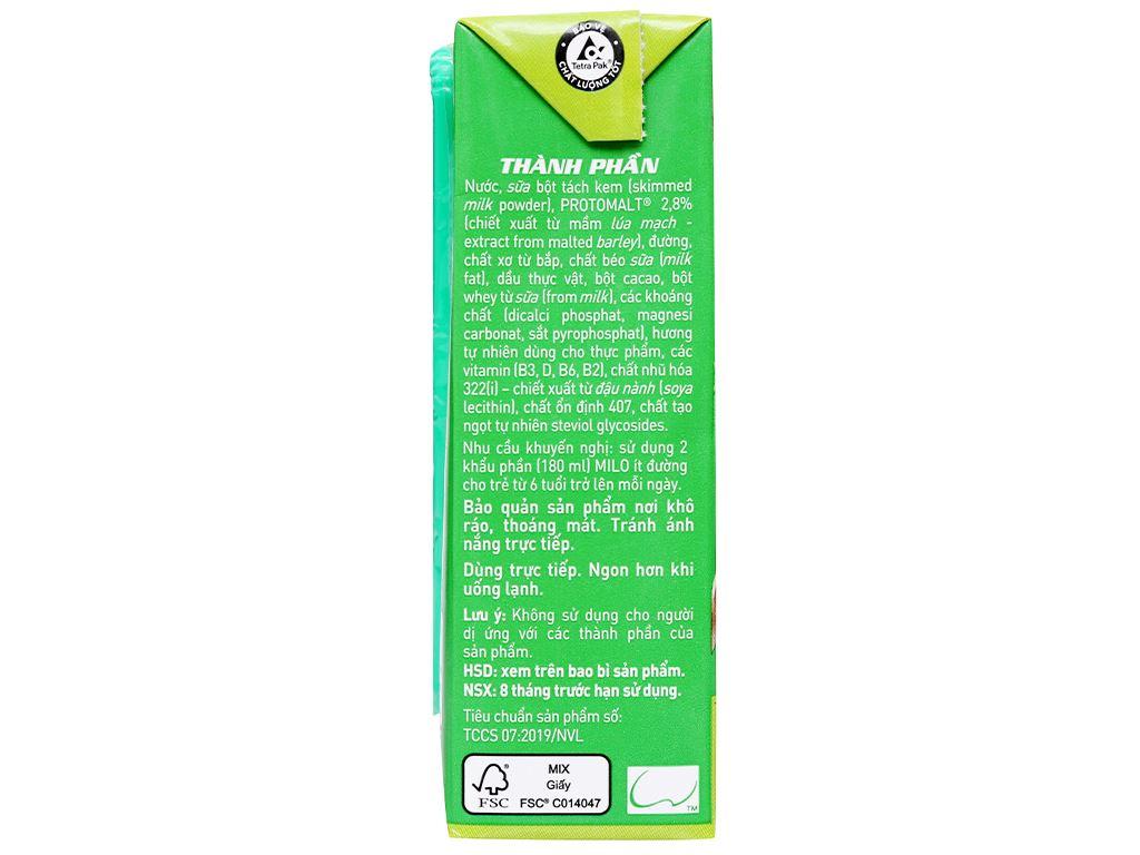 Lốc 4 hộp thức uống lúa mạch ít đường Milo Active Go 180ml 5