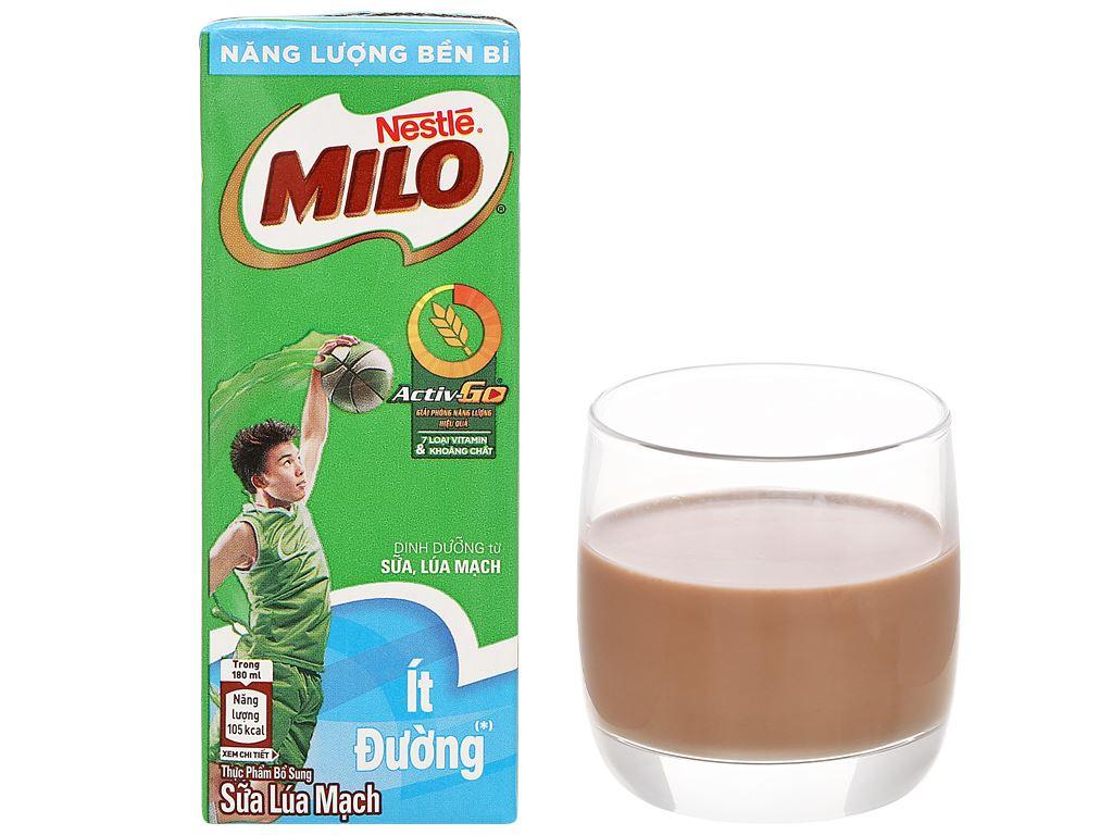 Lốc 4 hộp thức uống lúa mạch ít đường Milo Active Go 180ml 10