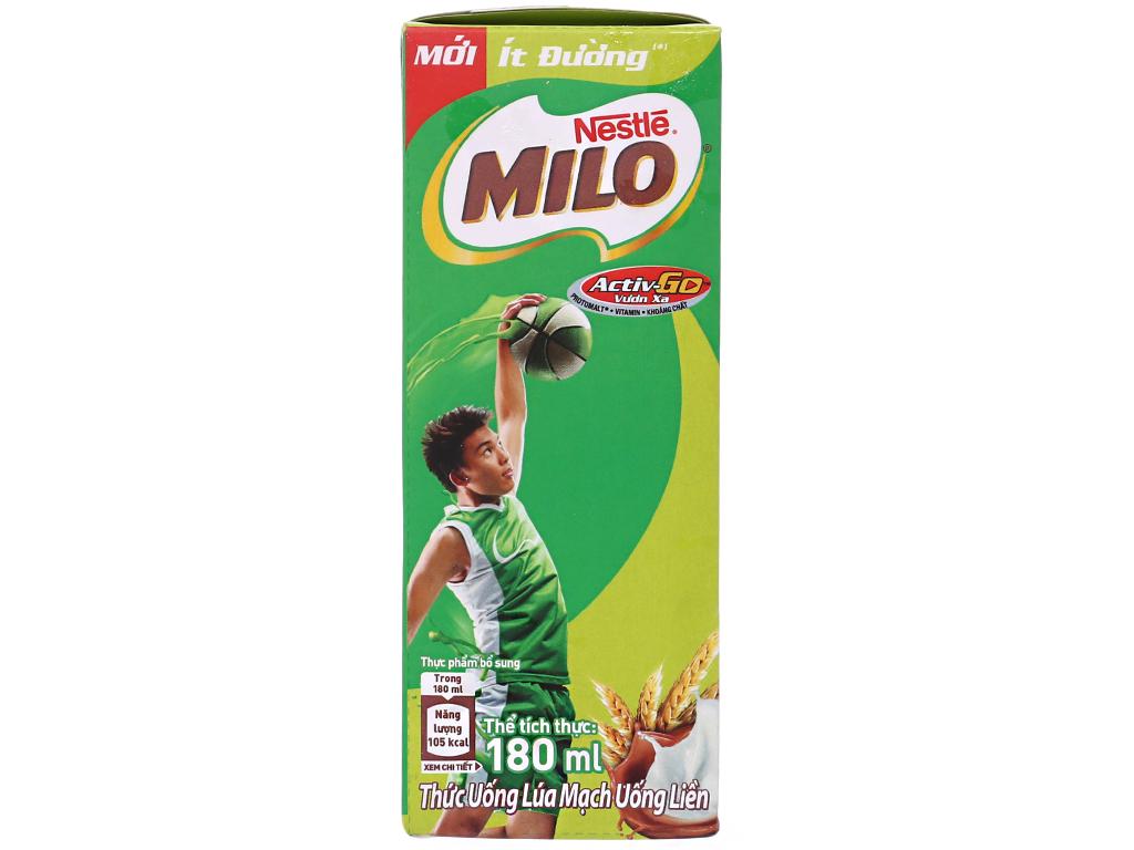 Lốc 4 hộp thức uống lúa mạch uống liền Milo Active Go ít đường 180ml 2