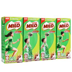 Lốc 4 hộp thức uống lúa mạch uống liền Milo Active Go ít đường 180ml