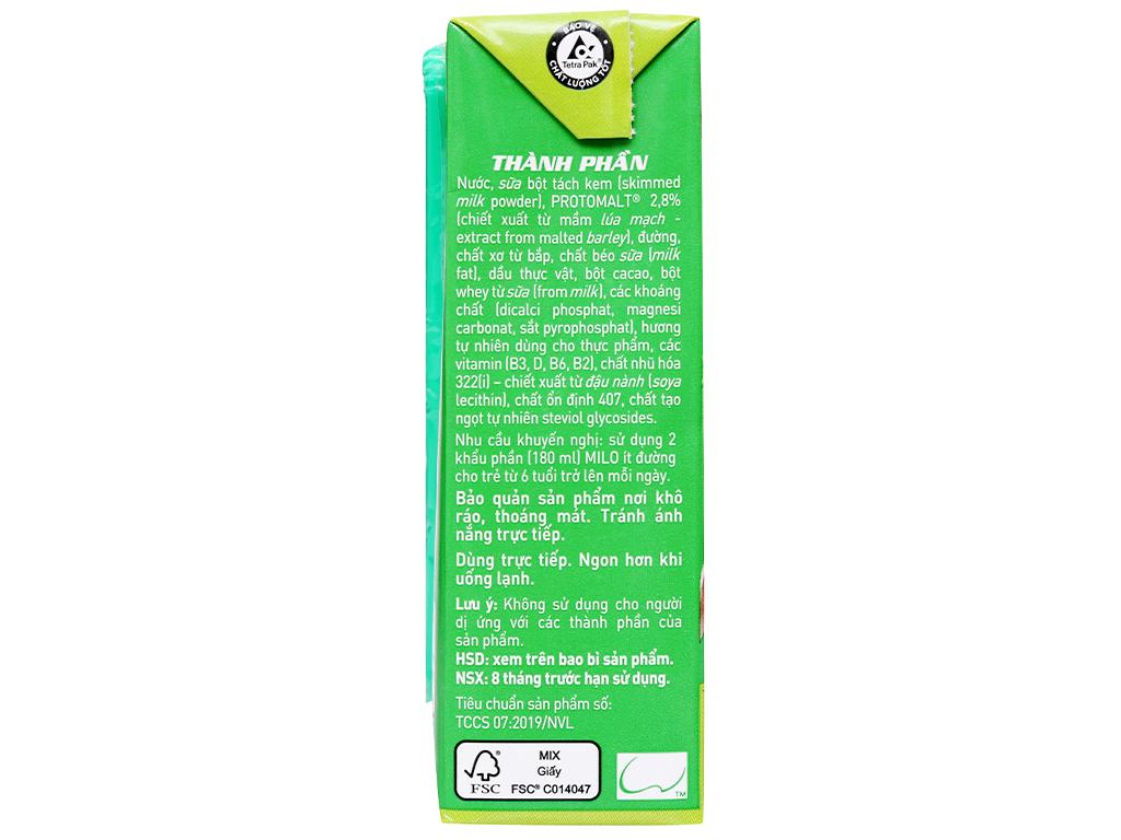 Lốc 4 hộp thức uống lúa mạch ít đường Milo Active Go 180ml 9