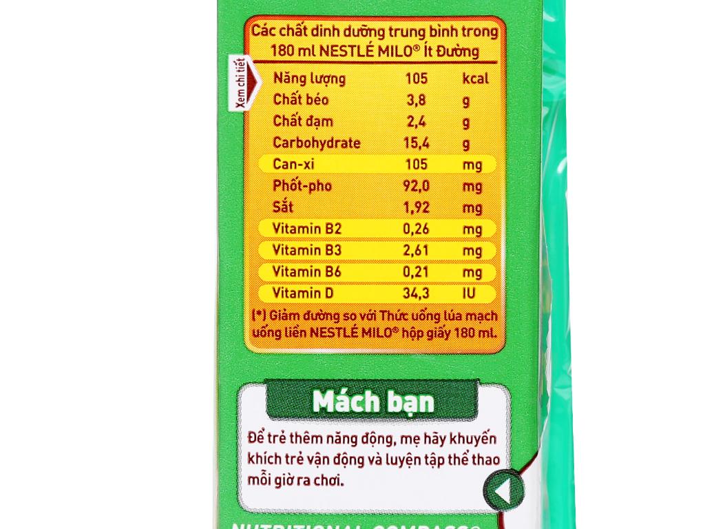 Lốc 4 hộp thức uống lúa mạch ít đường Milo Active Go 180ml 12