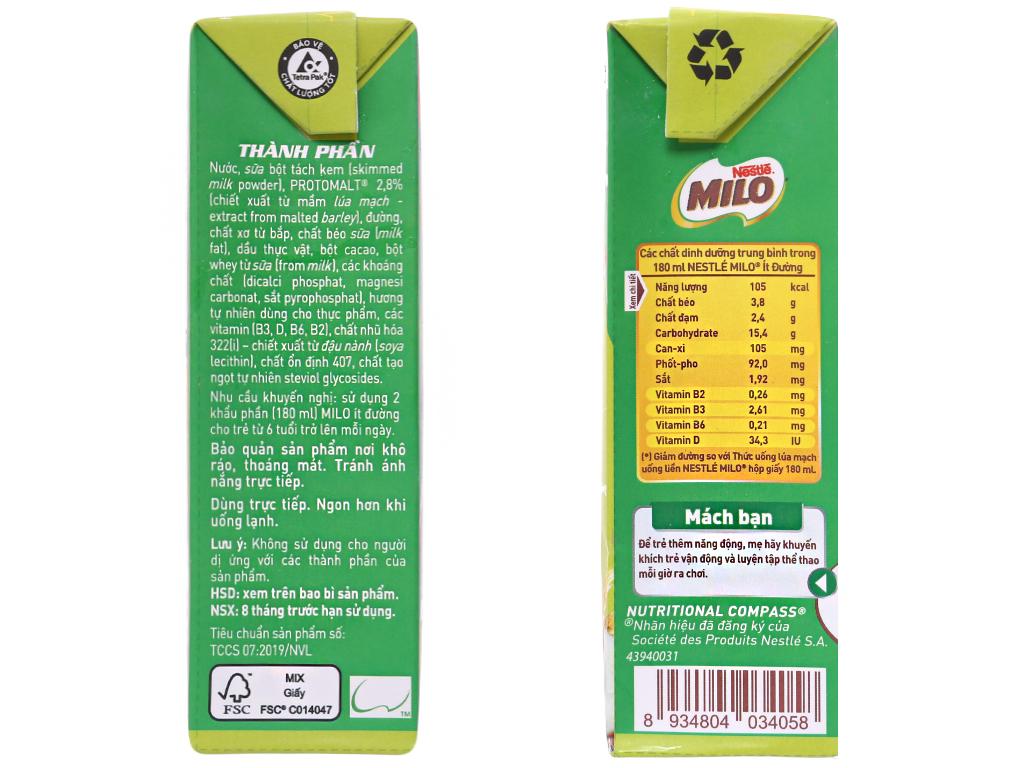 Thùng 48 hộp thức uống lúa mạch uống liền Milo Active Go ít đường 180ml 5