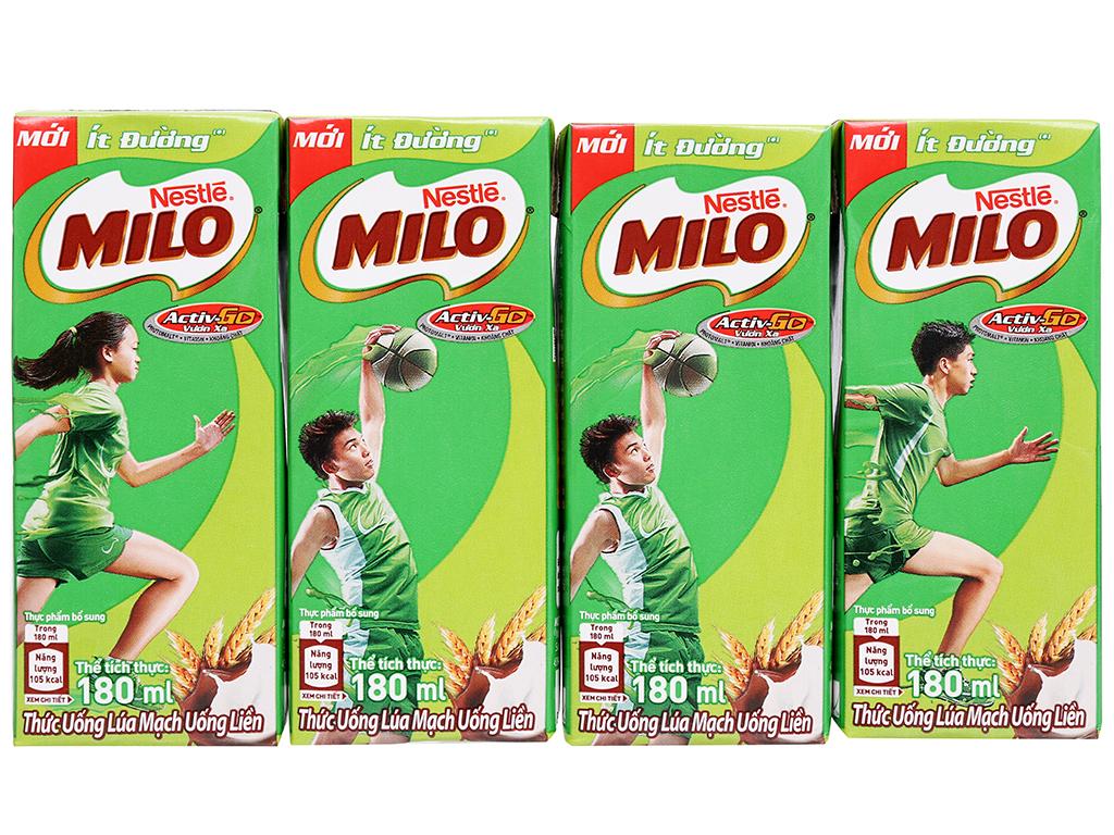 Thùng 48 hộp thức uống lúa mạch uống liền Milo Active Go ít đường 180ml 7