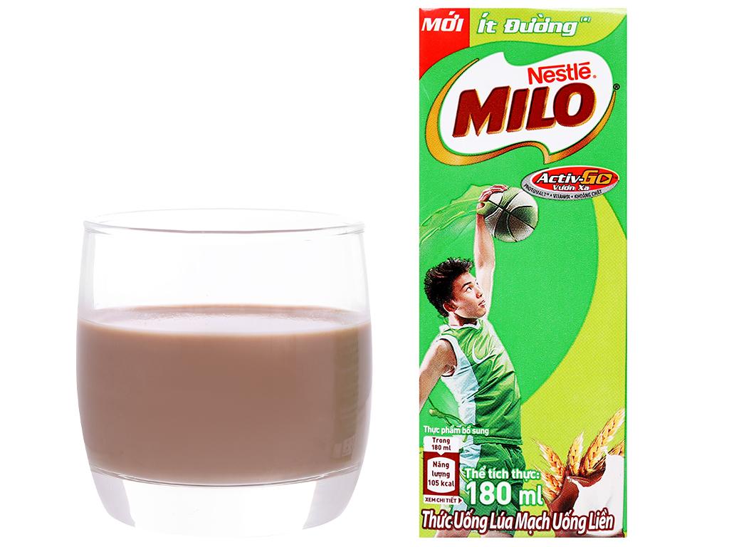 Thùng 48 hộp thức uống lúa mạch uống liền Milo Active Go ít đường 180ml 8
