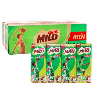Thùng 48 hộp thức uống lúa mạch uống liền Milo Active Go ít đường 180ml