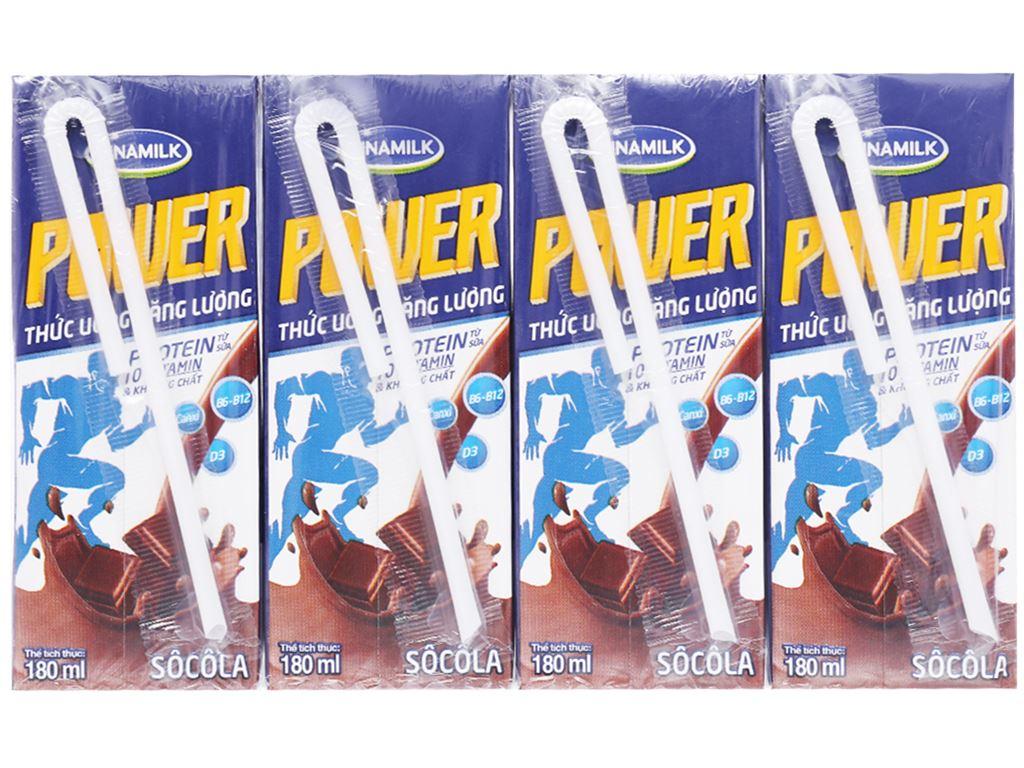 Lốc 4 hộp thức uống năng lượng Vinamilk Power sôcôla 180ml 2