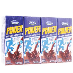 Lốc 4 hộp thức uống năng lượng Vinamilk Power sôcôla 180ml