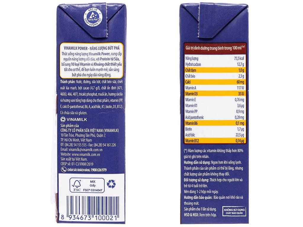 Thùng 48 hộp thức uống năng lượng socola Vinamilk Power 180ml 4