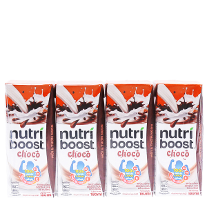 Lốc 4 hộp thức uống socola sữa bổ dưỡng Nutriboost Choco 180ml