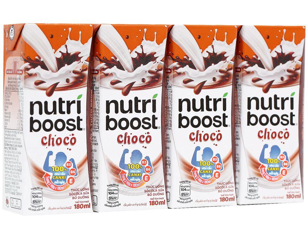Lốc 4 hộp thức uống socola sữa bổ dưỡng Nutriboost Choco 180ml 1